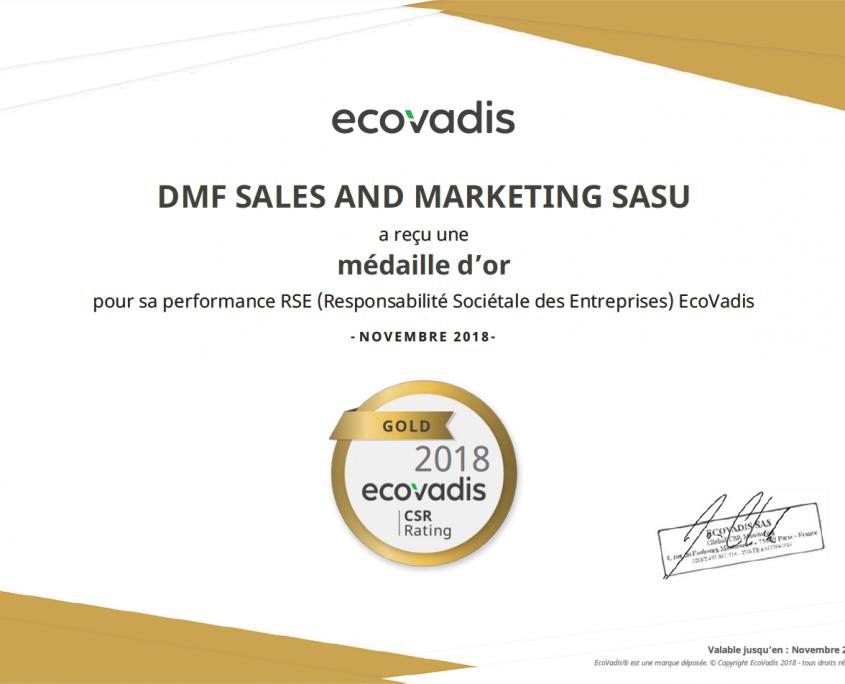 DMF sales and marketing reçoit la médaille d'Or Ecovadis